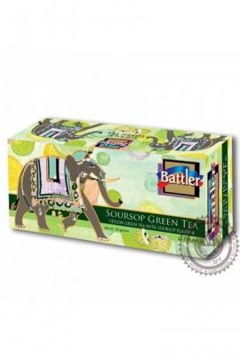 """Чай BATTLER """"Soursop"""" зеленый 25 пакетов"""