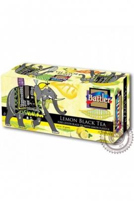 """Чай BATTLER """"Lemon"""" черный 25 пакетов"""