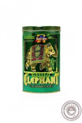 """Чай BATTLER """"Green Elephant"""" 100г ж/б зеленый крупнолистовой ОРА"""