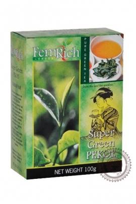 """Чай FEMRICH """"Super Green Pekoe"""" 100г зеленый крупнолистовой"""