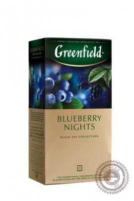 """Чай GREENFIELD """"Blueberry nights"""" (с черникой) 25 пак чёрный"""