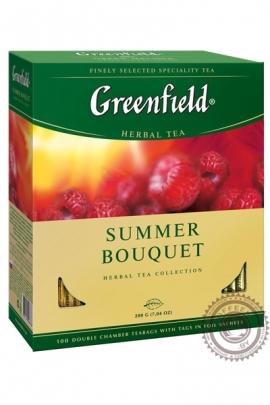 """Чай GREENFIELD """"Summer Bouquet"""" (с малиной) 100 пакетов фруктовый"""