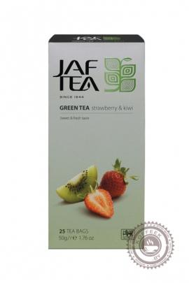 """Чай JAF TEA """"Strawberry & Kiwi"""" (клубника+киви) зелёный 25 пакетов"""