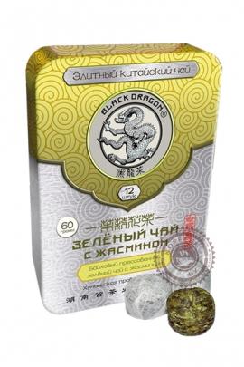 """Чай Чёрный Дракон """"Зелёный с жасмином"""" 60 г в ж/б"""