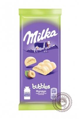"""Молочный белый """"Milka"""" Воздушный с фундуком 100г"""