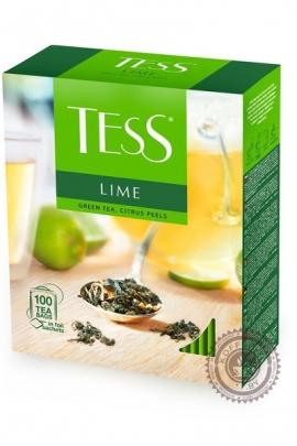 """Чай TESS """"Lime"""" (лимон+шиповник) 100 пак зелёный"""