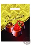 """Пакет """"Клубничный шоколад"""" полиэтиленовый, с вырубной ручкой, 31х40 см, 60 мкм"""