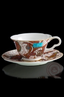 """Чайная пара """"Роспись цветов"""", ручной работы, костяной фарфор"""